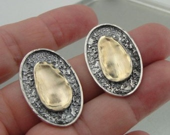 New israel design 9k yellow Gold 925 sterling Silver Stud Earrings (I e588)Y
