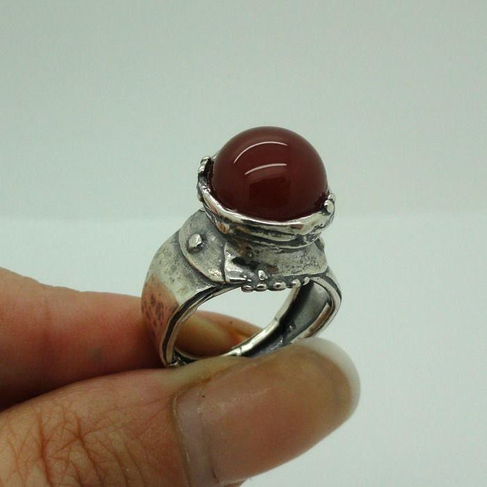 Hadar Fabulous Large handmade Sterling Silver Carnelian Ring size 8.5 (h 148)