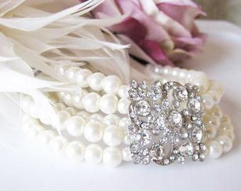 Wedding Bracelet Pearl Bracelet Rhinestone Wedding Jewelry Pearl Jewelry Rhinestone Jewelry Bridal Jewelry pearls bracelet Swarovski