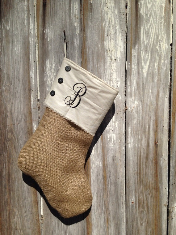 burlap button down monogrammed stocking single letter With single letter monogram christmas stockings