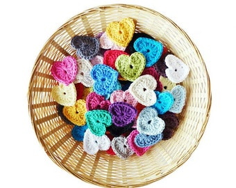Crochet Hearts - Set of 10 (1.75 inch)