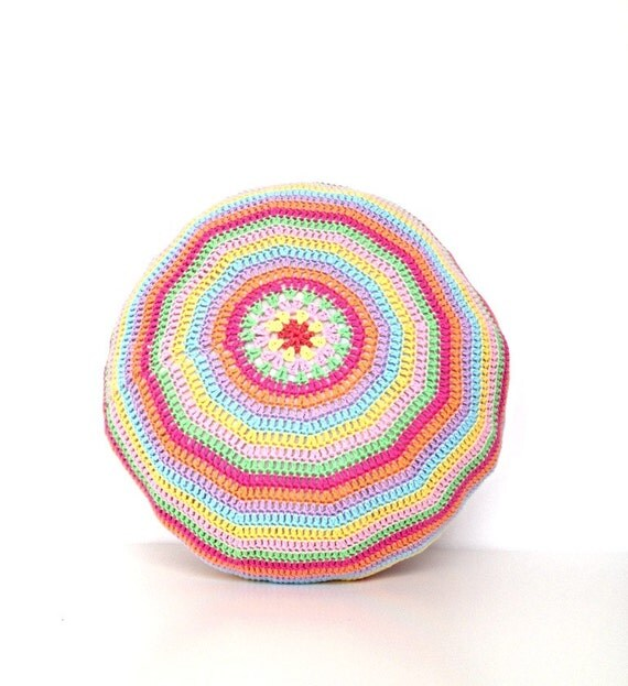 Crochet Pouf Ottoman Floor Cushion Round Pillow Pattern - Instant Dowload from ...