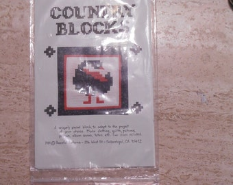Vintage country blocks pattern by Peaceful Patterns goose country block pattern new old stock farmhouse chic country crafts kit