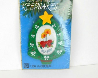 Vintage craft kit Christmas Keepsake ornament kit Designs for the Needle  1359 candlescross stitch kit new old stock sewing kit cross stitch