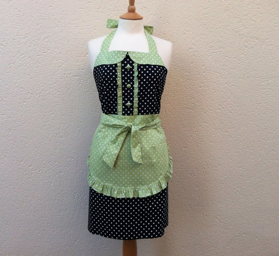 1950s vintage inspired apron with collar, white polka dot on black fabric, white dots on mint green background trims, fully lined.