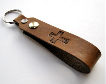 Tan Leather Key Fob Cross Christian Calvary Snap Loop for Belt or Pack Keychain Wristlet