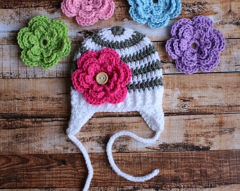 Interchangeable Crochet Hat With Earflaps White and Grey with 5 Flowers Available in lots of colors.