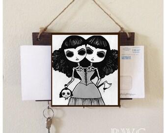 Creepy Twins Mail Holder and Key Rack Home Decor