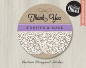 Custom Wedding Stickers - Rustic Chic Thank You Favor Labels