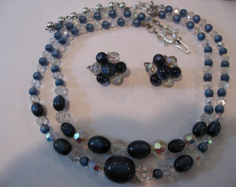 SALE Vintage Blue Moonglow and Crystal AB Beaded Adjustable Necklace and clip earrings SET