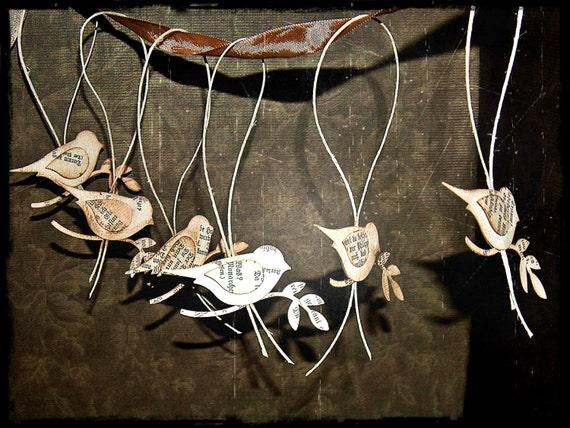 German Wedding Gifts: Items Similar To Vintage German Text Handmade Birds