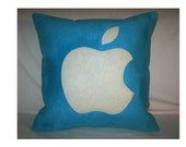 Modern Designer 16x16 Faux Suede Turquoise Pillow Cover with White Apple  Icon  Applique