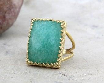SALE - amazonite ring,rectangular ring,gold ring,gold filled ring,gemstone ring,statement ring,big ring