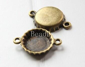 10pcs / Bottle Cap / Settings / Antique Brass Tone / Base Metal / Links (ZB16842//K211)