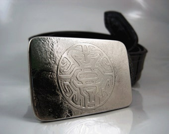 Circuitry of the Mind Belt Buckle - Etched Stainles Steel - Handmade