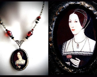Anne Boleyn, Tudor Queen, Henry VIII, Renaissance necklace, Medieval jewelry, red glass, faux pearls, royalty, romantic, regal, historical
