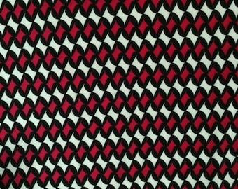2 yards - Abstract -Magneta/Black/White -Lycra Knit Fabric