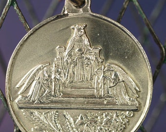 Vintage Silver Our Lady of the First Communion Religious Medal Pendant on 18 inch sterling rolo chain