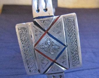 Berber Enamel Anklet or Upperarm Bracelet,  'Khal Khal'