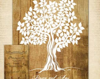 "Guest Book Tree,  Wood Wedding Tree Poster, 16"" x 20"" - Up to 150 Signatures, Guest Book Alternative"