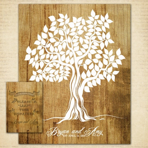Diy Cover Guest Book : Diy digital files guest book tree wood wedding poster