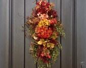 "Fall Wreath-Thanksgiving Wreath-Teardrop Wreath- Vertical Door Decor-Autumn Fall Swag Decor..""Autumn Enchantment"" Artificial Floral Swag"