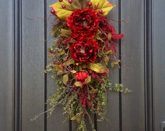 """Spring Summer Fall Wreath, Swag, Gift Twig Teardrop Vertical Swag Door Decor...Use All Year Round..""""Romantic Red"""" Red Artificial Florals"""