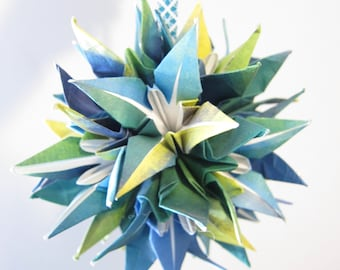 SALE Blue Origami Lily Kissing Ball