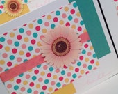 ON SALE - 6 in stock - Hello Bright Mod Polka Dot Note Card Set with a Sunflower in yellow, teal, medium pink