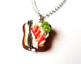 Sweet Toast Necklace ( wiped cream fork strawberry kiwi polymer clay pendant gift for girl cute sweet handmade mini food )