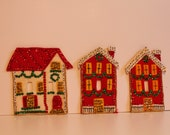 Vintage Christmas felt and Sequins village light switch covers. Rare!  Set of 3 one great price