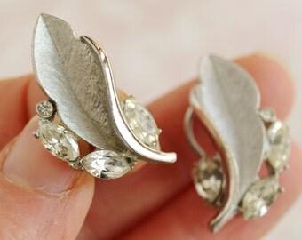 Vintage Silver and Rhinestone Leaf Cip-On Earrings by B.S.K.