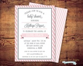 Printable Stripe baby shower Invitation (digital file) DIY print on your own