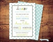 Printable Oh Baby Shower Invitations (digital file) DIY Printing at home or your choice of printer
