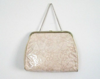 Vintage 1950s Gold Embroidered Handbag Clear Vinyl Covered Chain Handle