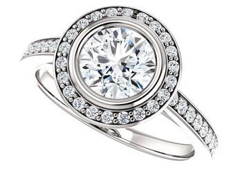 1 ct Forever Brilliant Moissanite Solid 14K White Gold Diamond Engagement Ring - ST233163R