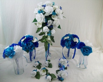 CUSTOM made to order 12 Peice BRiDaL PaCKaGe Horizon BLue White aND Malibu Wedding Flowers Calla lilies and Roses