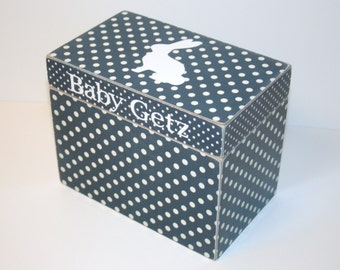 Baby Keepsake Box, Baby Boy Trinket Box, Navy Blue and White Box, Polka Dot Box, Bunny Decor, Handmade 4x6 Wooden Baby Card Box, Recipe Box