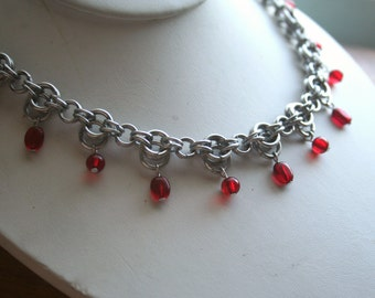 Red Drop Chainmaille Necklace