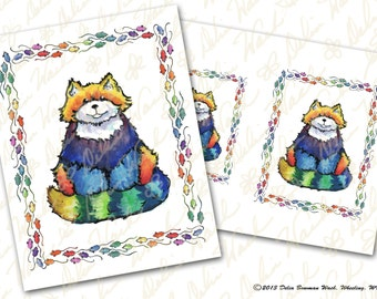 Sitting Rainbow Cat and Mice - Digital Collage Sheet - Instant Download - Printable - Great for Crafting - Mice Border, Rainbow