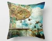 Pillow Cover, Circus Pillow, Retro Carnival Pillow, Carnival photography Pillow, Carnival Ride Pillow, Living Room Decor, 16x16 18x18 20x20