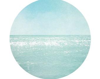 Circular Beach Photography, Aqua blue teal Print, Modern Circle Ocean Wall Art, Shimmering water Coastal wall decor 8x8 8x10