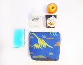 Insulated Snack Sleeve / Lunch Bag / Baby Bottle Case with Waterproof Lining - Dinosaur (Blue)