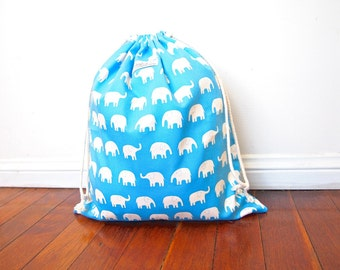 Large Drawstring Bag / Library Bag / Laundry Bag - Blue Elephants