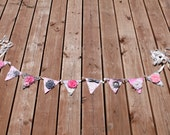 Pink and Gray fabric banner