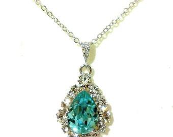 Something Blue Turquoise Necklace, Swarovski Teardrop Jewelry, December Birthstone, BIJOUX