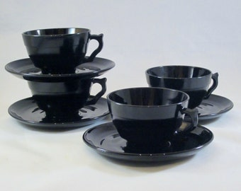 Vintage ART DECO Cup Black Glass Cups and Saucers 1930s