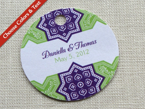 Moroccan Wedding Favor Tag - Bridal Baby Shower - Persian Tile Gift Tag - Custom Colors - Custom Wording