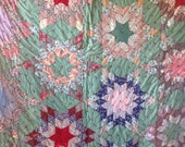 Vintage STRIP BIG STARS Quilt - Bright and Colorful Excellent
