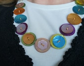 MultiColor Button Necklace with silve-colored metal chain and barrel screw clasp